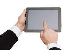 Close up of man hands touching tablet pc Stock Photo