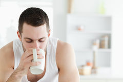 Close up of a man having coffee Stock Photography