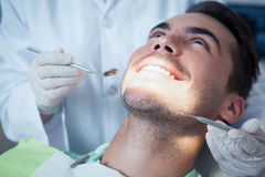 Close up of man having his teeth examined Stock Photography