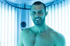 Close-Up Of An Man Having Solarium Beauty Treatment Stock Photos