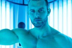 Close-Up Of An Man Having Solarium Beauty Treatment Royalty Free Stock Photo