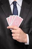 Close up of a man holding cards Royalty Free Stock Photo