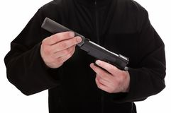 Close-up Of A Man Holding Handgun Royalty Free Stock Images