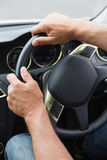 Close up of man holding his wheel Royalty Free Stock Photo