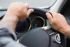 Close up of man holding his wheel Royalty Free Stock Image