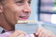 Close up of man holding medical equipment. At dental clinic Royalty Free Stock Images