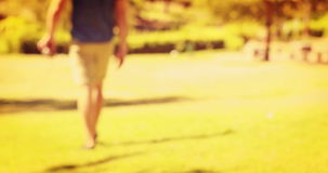 Close up of man holding retro photo camera in the park stock footage