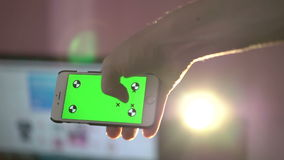 Close Up Man Holding Smartphone Touch Screen With Green Screen Chroma Key stock video