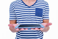 Close up of man holding tablet Stock Photography