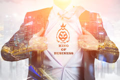 Close up of man in king of business T-shirt Royalty Free Stock Photography