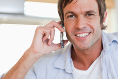 Close up of a man making a phone call Royalty Free Stock Image
