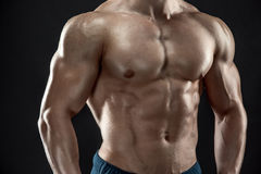 Close-up of man model torso. Posing showing perfect body Royalty Free Stock Images