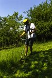 Man Mowing Green Wild Field. stock photography