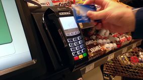 Close up man paying food by credit card stock video footage