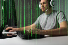 Close up of man playing computer video game Stock Images