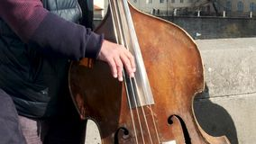 Close up of a man playing a double bass as part fo a street band stock video