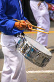 Close up of a man playing drum during Festival of the Virgin de Royalty Free Stock Image
