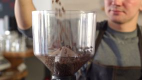 Barista man falling asleep coffee beans in a coffee grinder before cooking latte. Close-up of a man pours a lot of coffee beans in a large professional coffee stock video