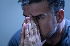Close-up of man with problems Stock Photo