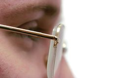 Close-Up man profile shot. Profile of young man with glasses, close-up Royalty Free Stock Image