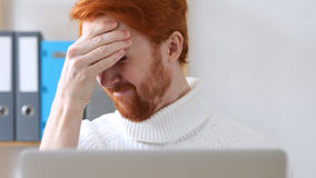 Close-up of  Man with Red Hairs Having Headache at Work, Pain Stock Image