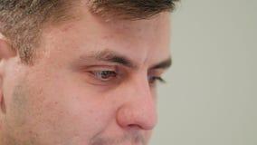 Close-up of a Man`s Face Indoors stock photos