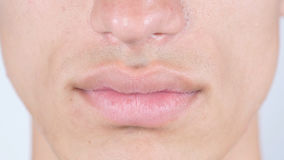 Close Up Of Man's Face Lips. High quality Royalty Free Stock Images