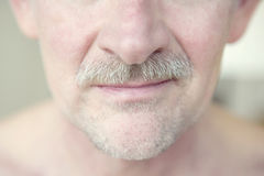 Close-up of a man's face with moustache. Close-up of mature man with grey moustache Stock Images