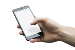 Close up of a man`s hand holding phone with white display on whi. Te background royalty free stock photos