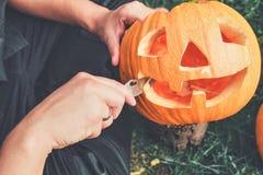 Halloween . Jack-o-Lantern. scary pumpkin with a smile stock image