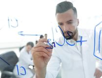 Close up of a Man scientist working with formulas Royalty Free Stock Photography