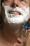 Close-Up Of A Man Shaving.  Royalty Free Stock Images
