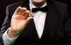 Close up of man showing dice with double six Royalty Free Stock Photos