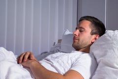 Close-up of a man sleeping Stock Image