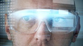 Close up of man in smart glasses with coding stock video footage