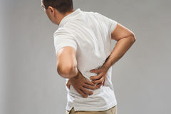 Close up of man suffering from backache Royalty Free Stock Photos