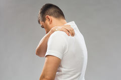 Close up of man suffering from backache Royalty Free Stock Photo