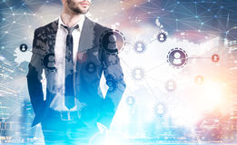 Close up of man in suit and network sketch stock image