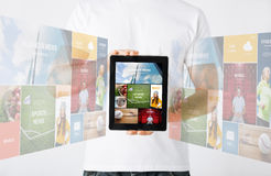 Close up of man with tablet pc and web pages Stock Images