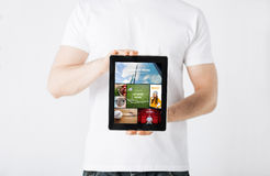 Close up of man with tablet pc and web pages Stock Photos