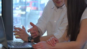 Close up of man talks with woman at the cafe stock video footage