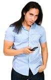 Close-up of a man text messaging Royalty Free Stock Photography