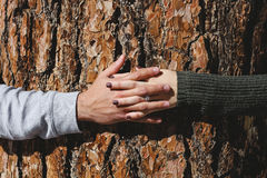 Close-up of Man Touching Hands Royalty Free Stock Images