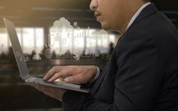 Close up man use mobile laptop in airport terminal Stock Photo