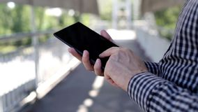 Close up of a man using digital tablet stock footage