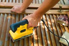 Wood sanding machine. Close up royalty free stock image
