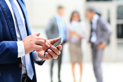 Close up of a man using mobile Stock Image