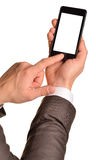 Close up of man using mobile smart phone Royalty Free Stock Image