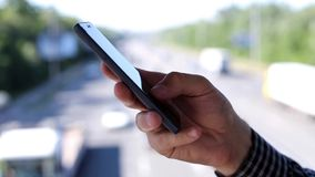 Close up of a man using mobile smart phone stock video footage
