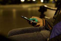 Close up of a man using mobile smart phone Stock Image